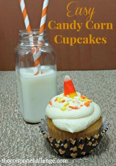 Get into the spirit of Fall with these Easy Candy Corn Cupcakes.  The cupcakes would be perfect for a school treat or just as a surprise for kids or coworkers.