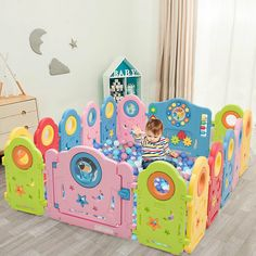 14 Panel Kids Activity Center Baby Playpen With Gate Large Coverage Height Kids Activity Center, Activity Board, Dog Safety, Child Safety, Indoor Games For Kids, Activities For Kids, Baby Playpen, Outdoor Baby, Indoor Outdoor