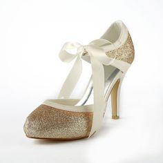 Satin Stiletto Heel Pumps With Sparkling Glitter Wedding Shoes