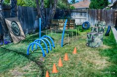 Our top five ideas for creating an epic Nerf obstacle course in your backyard this summer. Have fun on a budget this summer with these easy Nerf bunker ideas. Army Birthday Parties, Army's Birthday, Backyard Birthday, Birthday Party Games, Birthday Design, 5th Birthday Ideas For Boys, Birthday Pizza, Backyard Obstacle Course, Kids Obstacle Course