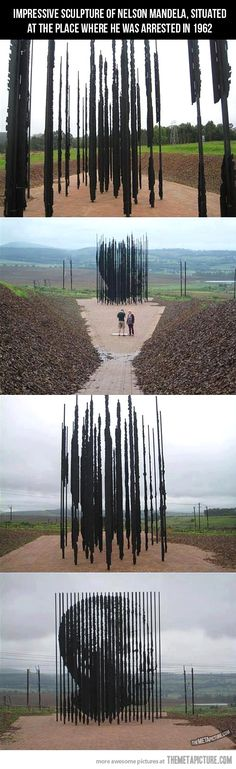 "This Nelson Mandela sculpture titled ""Release"" is at the Capture Site Museum (near Howick, KwaZulu-Natal province, South Africa) and stands on the spot where Nelson Mandela was arrested 50 years ago at a police roadblock, on 5 August 1962. The monument is constructed out of 50 separate steel bars to represent 50 years since the capture. This stunning piece of artwork has been erected by South African artist Marco Cianfanelli, a sculpture where perspective matters."