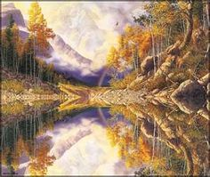Bev Doolittle - Wilderness. Hard to see differences from the reality and the reflection but they are there in the poster.