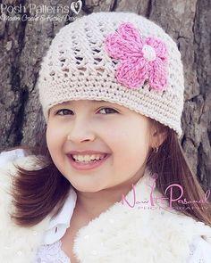 Crochet PATTERN  Cloche Beanie With Flower Crochet - 2014 Winter Beanies for Girls   #crochet #pattern #knitting
