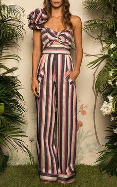 Bahama Ruffled One Shoulder Jumpsuit by JOHANNA ORTIZ for Preorder on Moda Operandi