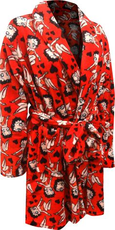 These super soft red plush robes for plus size women feature an all over print. The best part is that Betty Boop is part of the print. This short robe has 2 side pockets. These fun robes are machine washable and easy care. Military Tactical Boots, Swarovski Gifts, Womens Pjs, Best Pajamas, Leather Company, Cute Lingerie, Popular Girl, Two Piece Outfit, Betty Boop