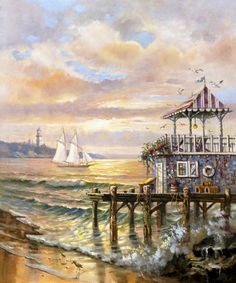 Out to Sail by Carl Valente ~ beach ~ ocean ~ sailboat ~ lighthouse Cleveland Art, Nautical Art, Nautical Painting, Lighthouse Art, Art Painting Gallery, Decoupage, Seascape Paintings, Beach Art, Beautiful Paintings