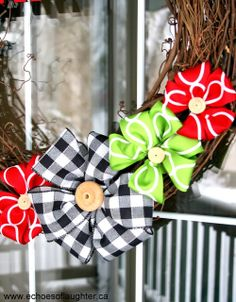 DIY Ribbon Flower Wreath. #wreath #diy #christmas