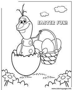 Print frozen character olaf hatching from easter egg colouring page coloring pages