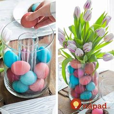 Place a small vase filled with flowers inside a larger vase, fill open space with dyed eggs. Place a small vase filled with flowers inside a larger vase, fill open space with dyed eggs. Spring Crafts, Holiday Crafts, Holiday Fun, Easter Projects, Easter Crafts, Easter Ideas, Easter Dinner Ideas, Bunny Crafts, Hoppy Easter
