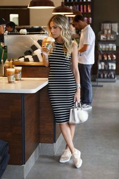Street style | Striped bodycon dress, flats, handbag