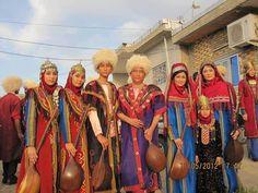 Turkamani music band in IRAN, members in traditional Iranian Turkamani clothing