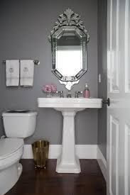 HALLWAY Chelsea gray Benjamin Moore What a pretty powder room, especially the pedastal sink from Home Depot and the beautiful mirror Beautiful Mirrors, Beautiful Bathrooms, Bathroom Inspiration, Bathroom Ideas, Creative Inspiration, Bathroom Remodeling, Remodeling Ideas, Bathroom Makeovers, Budget Bathroom