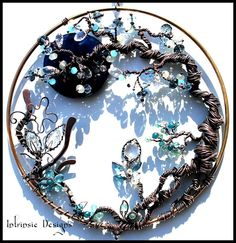 Blue Moon, twisted tree, Gemstone and wire suncatcher