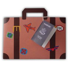 Large World Traveler Sticker Covered Suitcase Luggage Favor Gift Box Printable Color Template