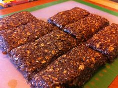 Homemade Protein Bars (with chocolate whey) **barely healthy** Too gooey but Chris likes them.