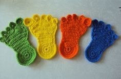 Foot Coasters Crochet Coasters Set of 4 by KnotsnMore on Etsy