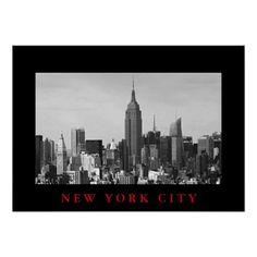 Black White New York City Panorama Poster Manhattan And