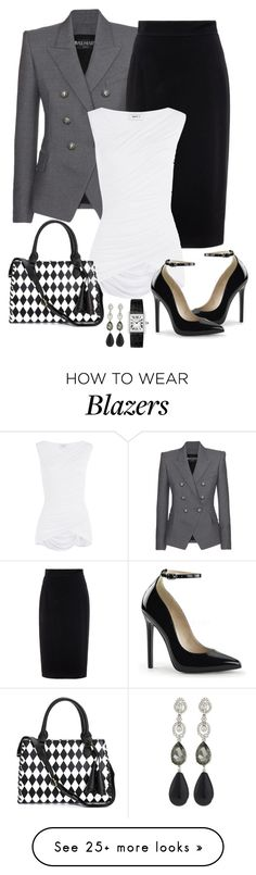 """Untitled #872"" by gallant81 on Polyvore featuring Balmain, Raoul, Bailey 44 and Oscar de la Renta"