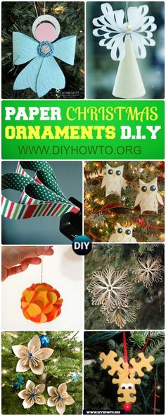 DIY Paper Christmas Tree Ornaments: Paper Snowflake, Paper Angel, Paper Flower and MORE via @diyhowto
