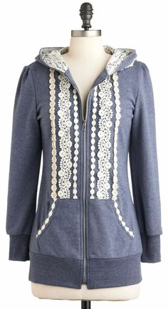 White and Blue Boho Hoodie