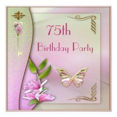 Shop Glamorous Key, Magnolia & Butterfly Birthday Invitation created by GroovyGraphics. 80th Birthday Cards, 60th Birthday Party Invitations, Sweet 16 Invitations, Invites, Custom Invitations, Happy Birthday, Butterfly Birthday Party, Flower Birthday, Estilo Art Deco