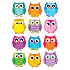 Carson Dellosa Education Colorful Owls Cut-outs - Whooo Doesn't Love Owls? These 36 Brightly Colored Owl Are Printed On Sturdy Card Stock And Come In 12 Assorted Designs Colors. Owl Theme Classroom, Classroom Walls, Preschool Classroom, Classroom Teacher, Classroom Displays, Classroom Ideas, Owl Crafts, Class Decoration, Owl Art