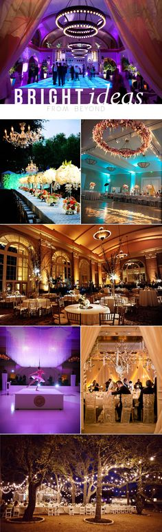 When it comes to lighting your event, Beyond — a Dallas-based company that specializes in lighting and videography — is the source! Check out Brides of North Texas blog for more on this ever so talented company!     Photos from top to bottom, left to right: Karlisch Photography, Andrea Polito Photography, Randy + April Wedding Photography, Andrea Polito Photography, Edmonson Weddings, Karlisch Photography, Two Pair Photography  #wedding #lighting #chandeliers #ballroom #outdoor #string #lights