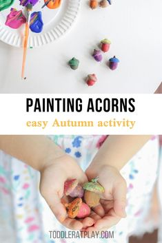 This Painting Acorns activity is a super quick and easy activity anyone can do this Fall! It's creative and simple at the same time. Acorns are abundantly laying underneath each Oak tree this time of year, so go on an exciting hunt with your kids to collect some! #paintingacorns #fallcrafts #craftsforkids