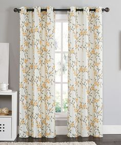 Orange Rebecca Floral Blackout Curtain Panel - Set of Two