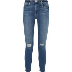 FrameLe High Skinny Distressed Jeans (14,050 DOP) ❤ liked on Polyvore featuring jeans, pants, bottoms, dark denim, high-waisted jeans, ripped skinny jeans, high waisted jeans, blue skinny jeans and super skinny jeans