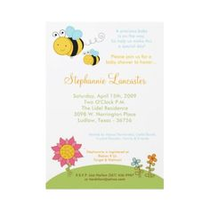 Spring Honey Bumble Bee Baby Shower Invitation