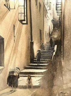 Rafal Rudko, 2016 Watercolor Painting Techniques, Watercolor Artists, Watercolour Painting, Watercolors, Watercolor Sketch, Watercolor Illustration, Watercolour Drawings, Drawing Art, Watercolor Architecture