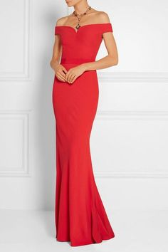 Red crepe Concealed hook and zip fastening at back viscose, acetate; lining: silk Dry clean Made in Italy White Evening Gowns, White Ball Gowns, Red Gowns, Evening Dresses, Long Dresses, Off Shoulder Evening Dress, Off Shoulder Gown, White Bustier, Mothers Dresses