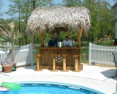Generic Tiki Bar by Pool Outdoor Tiki Bar, Outdoor Bar Stools, Outdoor Bars, Backyard Bar, Backyard Retreat, Gazebo On Deck, Tiki Bar Decor, Outside Bars, Tiki Hut