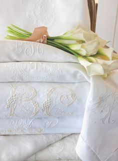 Esteemed for both their beauty and function, embroidered textiles impart a gracious sense of welcome to interiors. See our site {link in… Linen Bedding, Linen Fabric, Bed Linens, Victoria Magazine, Linens And More, Textiles, Embroidery Transfers, Bed Linen Sets, Bed Styling