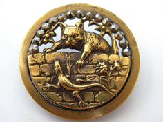 Antique vintage brass metal picture button victorian LARGE cut steel cat lizard