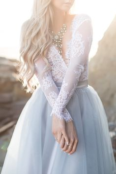 Blue and white. Tulle and lace.