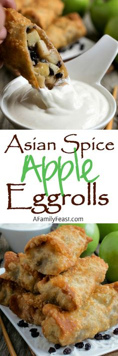 Asian Spice Apple Egg Rolls - Chinese Five Spice Powder adds a unique and spicy twist to these delicious dessert egg rolls. Egg Roll Recipes, Apple Recipes, Asian Recipes, Great Recipes, Favorite Recipes, Dip Recipes, No Egg Desserts, Homemade Desserts, Delicious Desserts