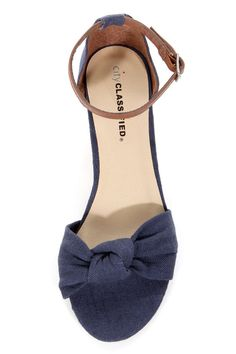 City Classified Rigel Navy Linen Sliver Wedge Sandals - $19.00