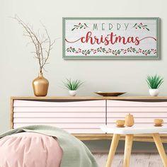 Merry Christmas Phrase Festive Floral Holly Detail Canvas Wall Art Black 17