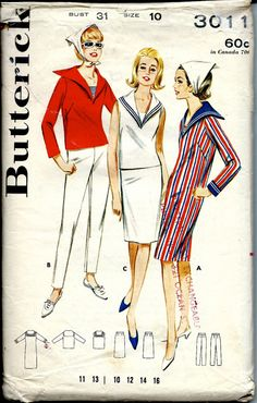 1960's Butterick Pattern No. 3011 : Nautical Sportswear, Middy Blouse, Dress Pants or Skirt Bust 31""