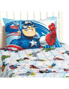 @Tonia Jones Here are some super hero squad sheets from Amazon. Not a big fan of the pillowcase, but you could find a comforter/pillowcase to tie it all together.