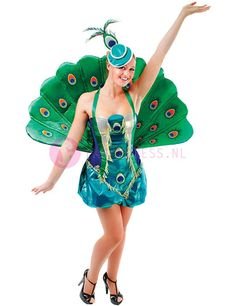Luxury Peacock Costume,  This luxury peacock costume consists of:  A shiny blue / green / black dress with gold details and peacock feather pattern on the front.  A green / blue hat with peacock feather.  A beautiful and striking green peacocks tail.  You can use the tail upward or downward wear.  http://www.feestkleding-fancydress.nl/volwassenen/carnavalskleding/pauw-kostuum.html