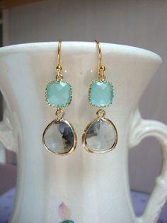 Gray and Aqua Blue $34