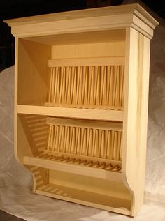 Plate Rack with Crown Molding, Solid Poplar Unfinished, Ready for your paint. Holds 32 Plates
