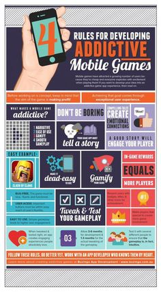 4 Rules for developing addictive mobile games #infografia #infographic