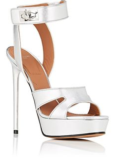 Givenchy Shark Line Metallic Leather Platform Sandals - 9 Silver Givenchy  Shark, Shoes Heels Boots a54dd6494d