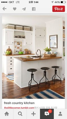Bar stools facing into the kitchen; perfect for breakfast with the kids before school.