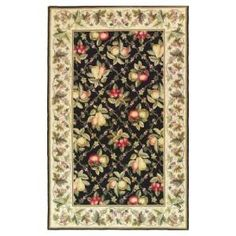 Kas Rugs Fruit Basket Black/Ivory 3 ft. 6 in. x 5 ft. 6 in. Area Rug  on  Daily Rug Deals