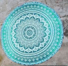Hippie Indian Ombre Mandala Round Roundie Beach Towel Throw Tapestry Yoga Mat #Unbranded
